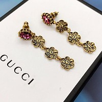 GUCCI Hot Sale Women Diamond Flower Pendant Earrings Jewelry Accessories