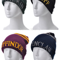 Harry Potter Gryffindor Cap Slytherin Beanies Ravenclaw HufflePuff Skullies Hat