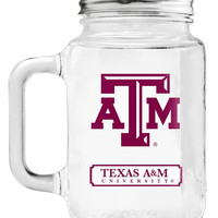 Texas A&M Aggies Mason Jar Glass With Lid