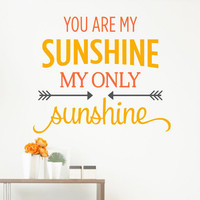 You Are My Sunshine My Only Sunshine Arrow Quote  Sticker Vinyl Wall Decal Sticker