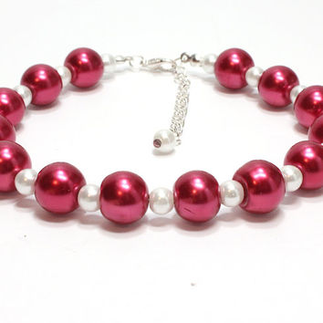 Red and White Pearl Dog Collar. Cranberry Red Collar. Dark Red Pearl Cat Collar. Husky Collar. Glass Pearl Pet Jewelry. Pet Bling Red Collar