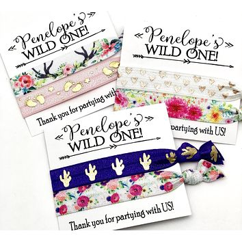 WILD ONE Custom Birthday Party Hair Tie Favors