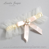 """Ivory and Nude Tulle Wedding Garter Bridal Garter """"Natalie"""" Silver 871 Ivory 113 Nude Prom Luxury Garter Plus Size & Queen Size"""
