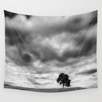 Landscape tapestry, office decor, nature wall art, tree tapestry, wall hanging, black and white, oversized art, outdoor tapestry,living room
