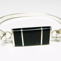 Black & Silver Bracelet with Black Faux Onyx - Retro Modernist Style - Signed Mexico Alpaca