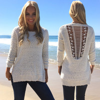 Angelic Open Back Knit Sweater In Ivory