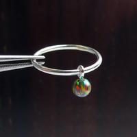 925 SterlingSilver Opal ring,4mm opal ball ring,opal bead ring,opal dangle dot ring,knuckle ring,little finger ring,dangle ring,wedding gift