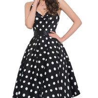 OWIN Women's 1950s Retro Bandage Halter Polka Dots 1950's Knee-Length Vintage Swing Dress