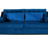 Karlin Velvet Sofa, Blue, Sofas & Loveseats