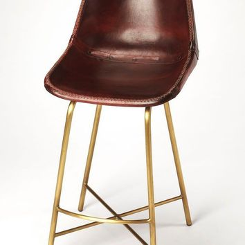 Transitional Counter / Bar Chair Vintage Brown Leather Antique Gold Base