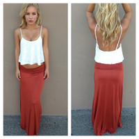 Rust Roll Down Maxi Skirt