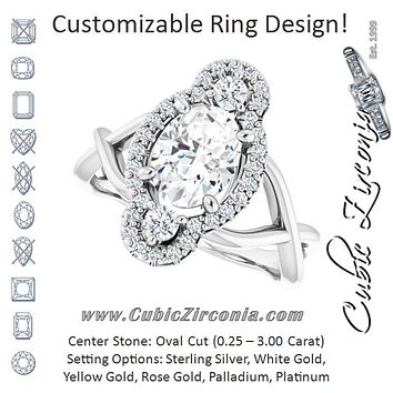 Cubic Zirconia Engagement Ring- The Josemaria (Customizable Vertical 3-stone Oval Cut Design Enhanced with Multi-Halo Accents and Twisted Band)
