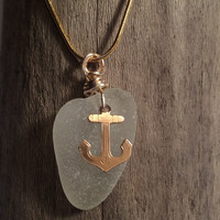Sea Glass Pendant Vintage Anchor Charm Beach Glass Jewelry Upcycled Recycled Eco Friendly Lake Erie Seaglass