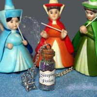 Sleeping Potion Necklace with Spinning Wheel by LifeistheBubbles