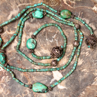 Turquoise Sterling Silver Lariat Necklace Boho Gypsy Hippie