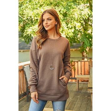 Long Sleeve Round Neck Sweatshirts With Side Pockets