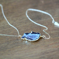 Agate Slice Lariat Necklace - Driftwood