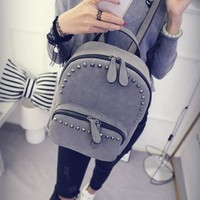 Vintage Gray Small Soft Leather Backpack Daypack