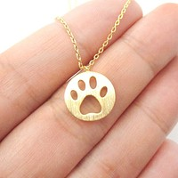 Round Puppy Paw Print Cut Out Shaped Pendant Necklace in Gold | Animal Jewelry