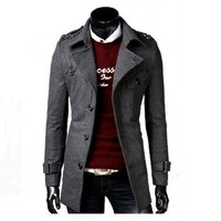 Mens Casual Breasted Jacket Long Slim Worsted Outear Winter Overcoat