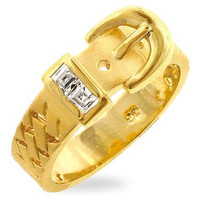 Golden Buckle Ring, size : 06