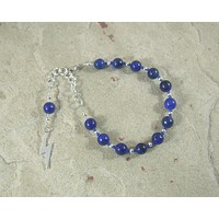 Zeus Prayer Bead Bracelet in Lapis Lazuli: Greek God of Sky, Storm, Lightning, Justice