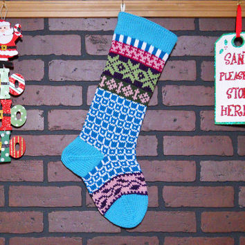 Hand Knit Christmas Stocking with Aqua Cuff, Fern Green Snowflakes and Amethyst Ivy, Fair Isle Knit, colorful stocking, can be Personalized