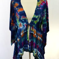 Tie Dye Top, Bohemian Bell Sleeve Blouse, Hippie Clothes
