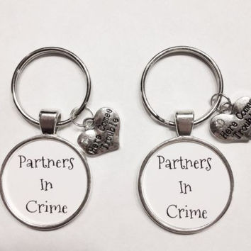 Infinity Partners In Crime Sisters Best Friends Here Comes Trouble Keychain Set