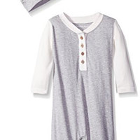 Burt's Bees Baby Baby Organic Henley Raglan Footless Coverall and Hat, Heather Grey, 3-6 Months
