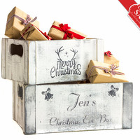 SET 2 Christmas Decorations Personalized Christmas Eve Box, Wooden Crates, Merry Christmas Gifts Keepsake Box, Bells, Reindeer Stocking