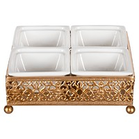 Square Serving Tray with Ceramic Dishes (Gold)