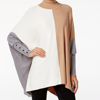 Alfani Colorblocked Turtleneck Poncho, Only at Macy's - Sweaters - Women - Macy's