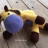 """Crochet Amigurumi Cow - 16"""" Stuffed Animal - Baby Safe Toy - Color Options - Plush Toy Gift - Amigurumi Cow - Made to Order in 5 days"""