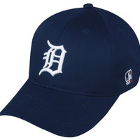 MLB YOUTH Detroit TIGERS Home Blue Hat Cap Adjustable Velcro TWILL New