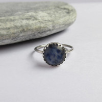 Sodalite Ring, 925 Sterling Silver, Crown Bezel, Blue Stone, Everyday Jewelry