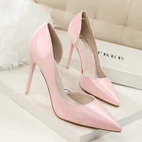 New Autumn Women Pumps Fashion Patent Leather Pointed High Heel Shoes Shallow Pointed Sexy Thin High-heeled Shoes OL G638-5