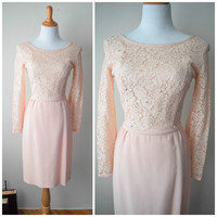 50s/60s Powder Pink Lace Cocktail Dress // Long Sleeve Wiggle Dress, Illusion Lace, Scoop Back // Mad Men Hourglass Shape Pin Up Dress XXS/S