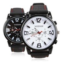 Man Fashion Portable Practical Man Wrist Watch Racing Sporty Quartz Silicon Watchband [9210700163]