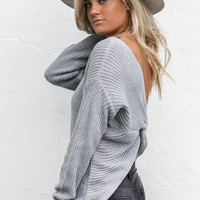 Best Thing Gray Twisted Back Sweater