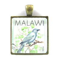 Postage Stamp Pendant of Bird, from Vintage, in Glass Tile Square