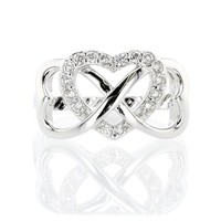 Sterling Silver Cubic Zirconia Infinity Heart Ring