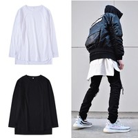H.A.Sueno 2018 hot oversized Kanye west men long sleeve shirts hip hop sport style cotton tees for men size long shirts /6