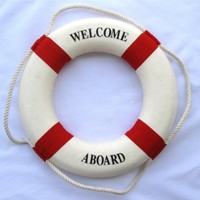 EIGA Ewelldone Nautical Welcome Aboard Cloth Life Ring Red 13.5 Inches, Decoration Only