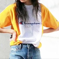 Champion Fashion Women Men Splicing Color Round Collar T-Shirt Top Black I