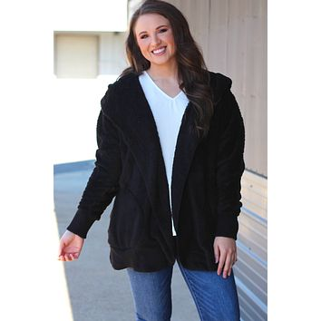 {Black} Plush Fur Open Jacket