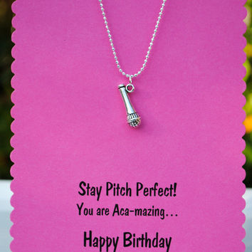 Pitch Perfect Microphone Necklace on Birthday Card