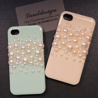 Luxury Iphone 5 Case pearl fue iphone4/4s by blingblingcellphone