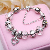 925 Silver Flowers Charm Fit Pandora Bracelet & Bangle With Murano Glass Beads Jewelry Gift For Women PS3172