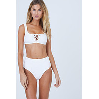 Erin Ribbed Lace Up Front Bikini Top - Marshmallow White